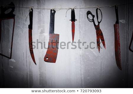 Grande sangriento cuchillo establecer aislado blanco Foto stock © Grafistart