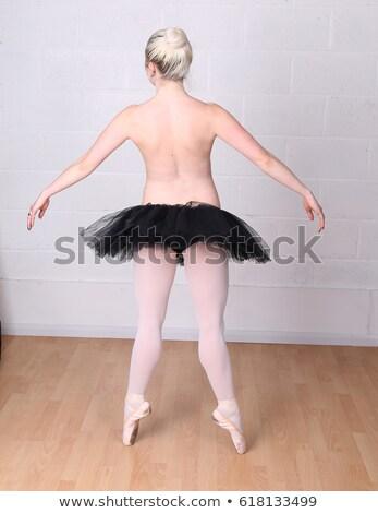bela · mulher · sessão · topless · mulher · sexy · isolado · branco - foto stock © stryjek