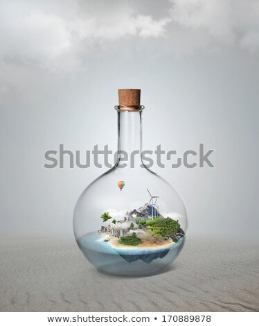 Corked glass bottle with beautiful island and sea inside. Microc Stock photo © hasloo