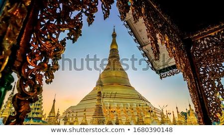 Myanmar pagode tempel birma achtergrond zonsopgang Stockfoto © weltreisendertj