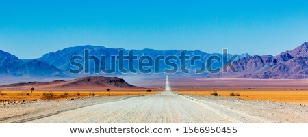 çakıl yol Namibya çöl gökyüzü dağ gündoğumu Stok fotoğraf © michaklootwijk