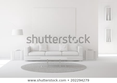 Stock fotó: Red Couch On White Interior Wall