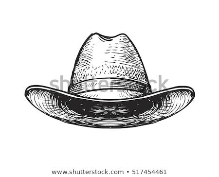 Rolnik cowboy słomkowy kapelusz człowiek gospodarstwa Zdjęcia stock © stevanovicigor