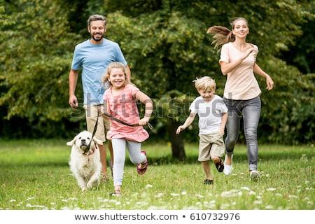 Mulher jogar animal de estimação cão jardim mulheres Foto stock © HighwayStarz