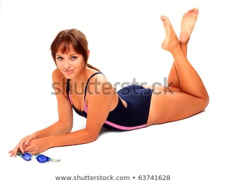 Karcsú nő divatos fürdőruha gyönyörű fiatal nő Stock fotó © tobkatrina