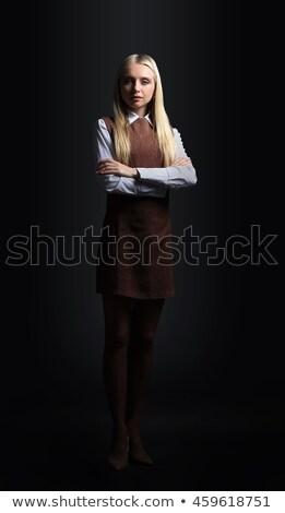 élégant · jeunes · femme · d'affaires · sombre · costume - photo stock © darrinhenry
