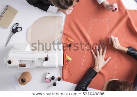 Lány szabó varr divat anyagok tű Stock fotó © feelphotoart