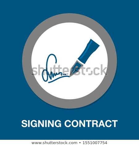 Felirat szerződés vektor illusztráció izolált fehér Stock fotó © Mr_Vector