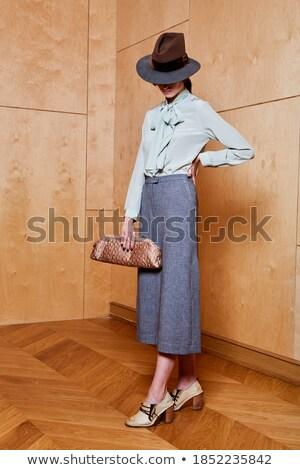 Retrato mulher negra branco biquíni chapéu de palha palha Foto stock © ivonnewierink