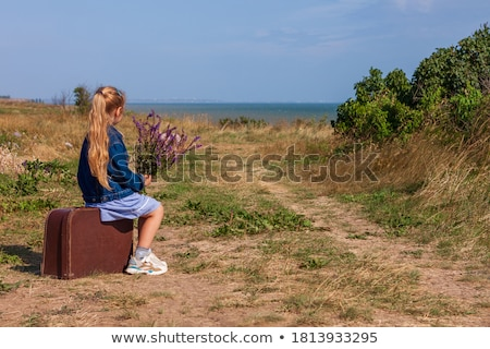 Magányos lány bőrönd virág kint utazás Stock fotó © Ainat
