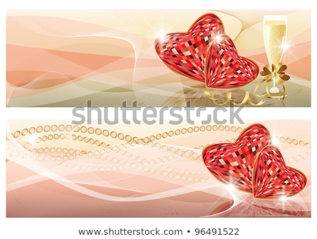 Love banners with champagne and ruby heart, vector illustration Stock photo © carodi