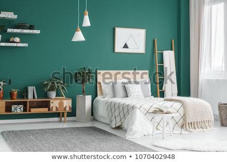 Holz · Schlafzimmer · Innenarchitektur · Bett · Blume · Holz - stock foto © iofoto
