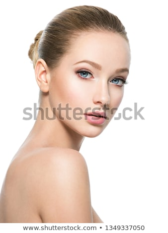 Foto stock: Veja · feminino · lábios · vermelhos · olhando