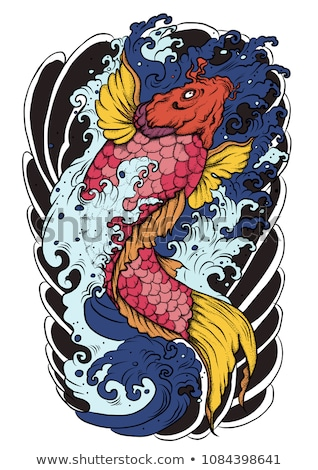 Koi vis tattoo traditioneel zwart wit illustratie Stockfoto © lineartestpilot