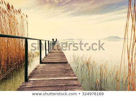 Houten pier rustig meer Balaton hemel Stockfoto © Fesus