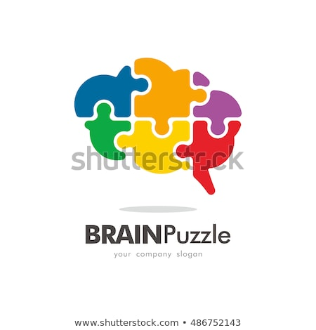 Agy puzzle illusztráció mutat emberi agy felfelé Stock fotó © bruno1998