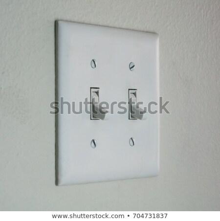 Blanche doubler interrupteur de lumière intérieur électricité switch Photo stock © ozaiachin