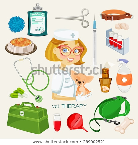 Vector graphic colored icon sticker set of vet and pet supplies Stock photo © feabornset