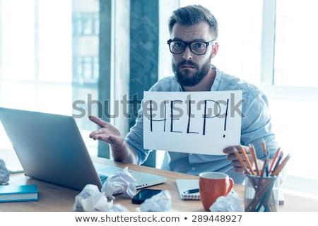 Homme d'affaires épuisé regarder caméra isolé affaires Photo stock © fuzzbones0