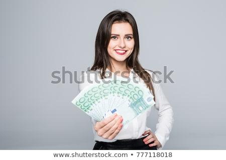euro · bankbiljetten · vrouwelijke · handen · bos - stockfoto © juniart