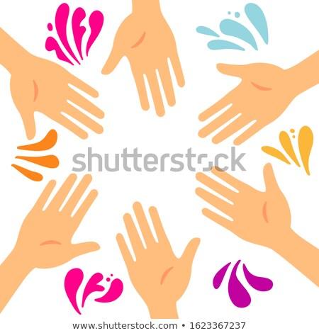 Kéz színes foltok szín nők boldog Stock fotó © tatiana3337