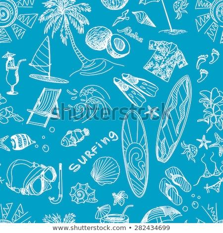 abstrato · surfar · padrão · palmeiras · água - foto stock © netkov1