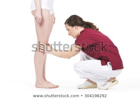 Diz değerlendirme doktor hasta bacak doktorlar Stok fotoğraf © Flareimage