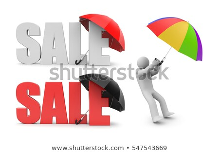 Discount word and business man with umbrella Stock photo © fuzzbones0