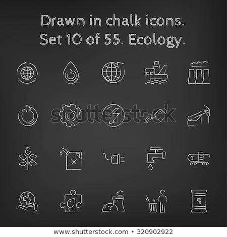 Stockfoto: Pompen · olie · kraan · icon · krijt