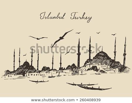 Minaret vintage groot moskee Tunesië Stockfoto © Morphart