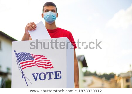 Stok fotoğraf: Amerikan · oylama · kutu · seçim · kırmızı · beyaz