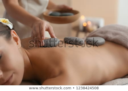 massagem · perto · mulher · menina · mao · rosto - foto stock © kzenon