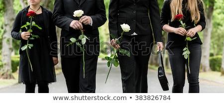 Lány fehér rózsa gyász temető árva Stock fotó © Kzenon
