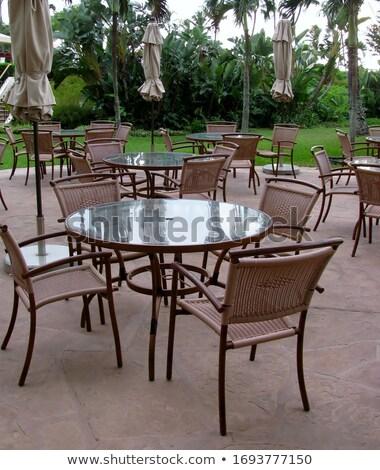 glas · eettafel · stoelen · drie · metaal · voedsel - stockfoto © digifoodstock