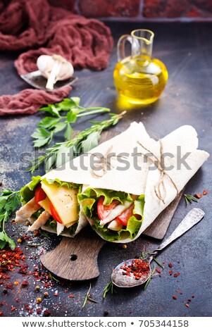 Tortilla hortalizas carne aislado blanco pollo Foto stock © Digifoodstock