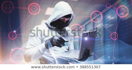 összetett kép hacker laptopot használ arculat szürke Stock fotó © wavebreak_media