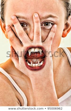 Vámpír közelkép női véres száj mutat Stock fotó © Kakigori