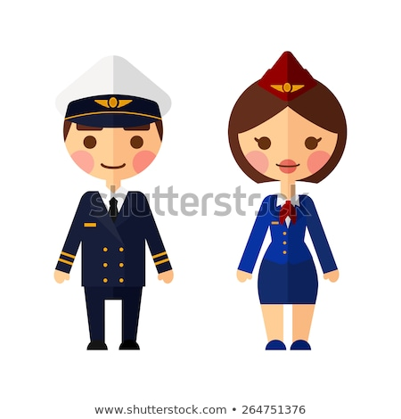 A coloured sketch of a pilot and an air hostess Stock photo © bluering