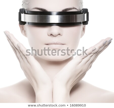 techno cyber woman isolated on the white background stock photo © elnur
