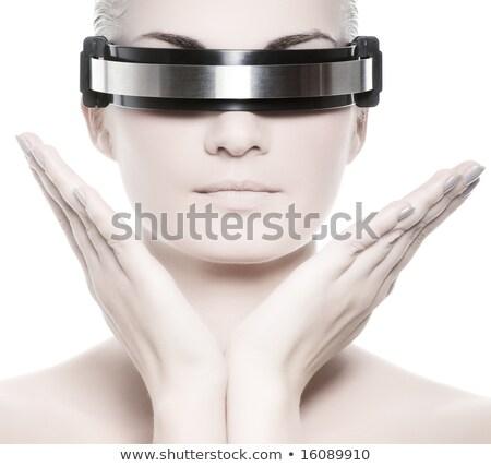 Techno Frau isoliert weiß Lächeln Internet Stock foto © Elnur