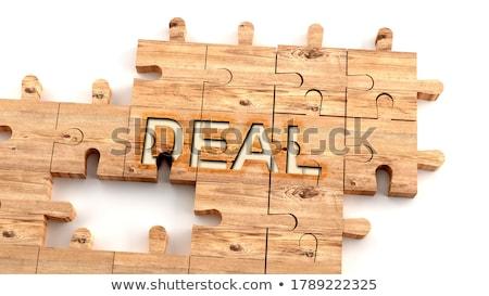 Rompecabezas palabra acuerdo piezas del rompecabezas construcción juguete Foto stock © fuzzbones0