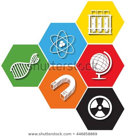 Different symbol of sciene on hexagon Stock photo © bluering