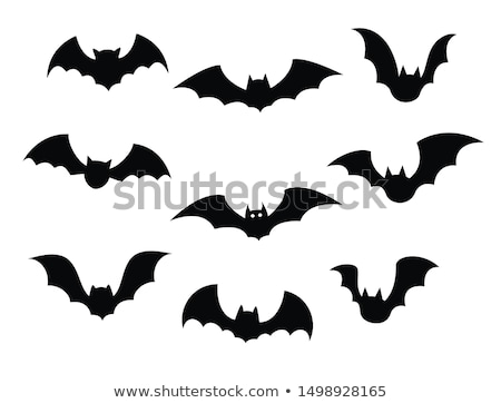 Black silhouettes of bats on a white background Stock photo © studiostoks