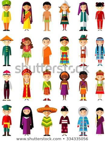 Stock fotó: ázsiai · család · boldog · arcok · szett · vektor