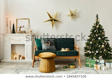 Zdjęcia stock: Christmas Home Decoration With Burning Lights On White Wooden Background