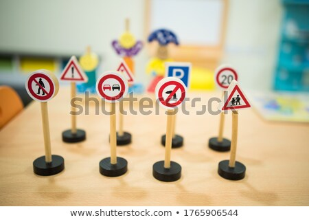 Traffic signs made by children in school Stock photo © zurijeta