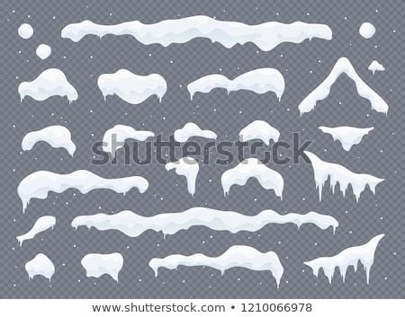 Kış yılbaşı kar pencere dizayn ev Stok fotoğraf © carodi