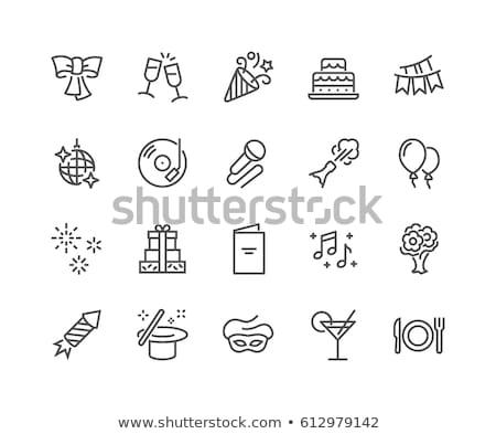 graduação · festa · linha · ícone · vetor · isolado - foto stock © rastudio