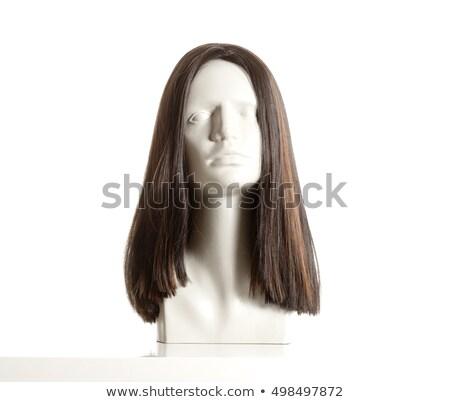 Etalagepop vrouwelijke hoofd pruik witte Stockfoto © courtyardpix