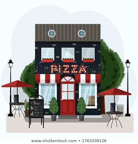 Italiaans pizzeria illustratie voedsel restaurant dienst Stockfoto © adrenalina